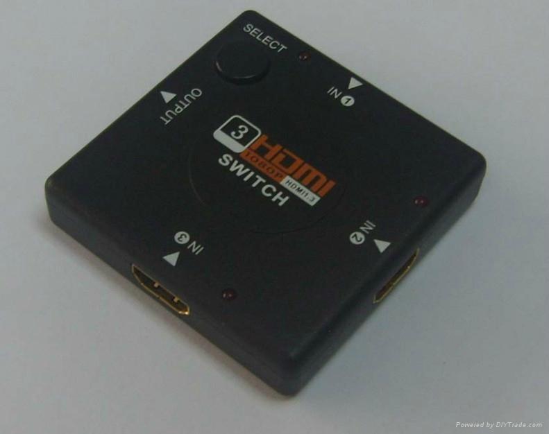 3 Port mini HDMI Switcher 1080p 1