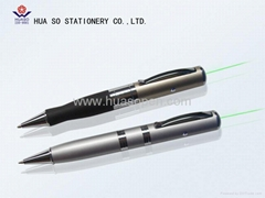 GL-257USB Rechargeable green laser pointer with ball pen