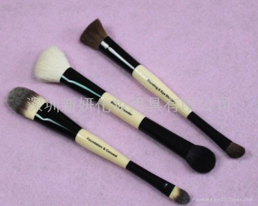 新妍美廠家供應動物毛雙頭兩用化妝刷 可定製 美容美妝化妝掃 1