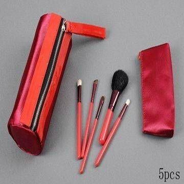 新妍美廠家供應紅色5支裝化妝套刷 便攜款禮品化妝刷 可定製 1