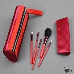 新妍美廠家供應紅色5支裝化妝套刷 便攜款禮品化妝刷 可定製