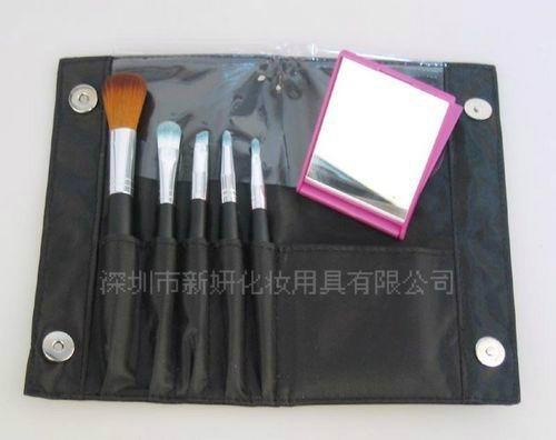 新妍美廠家供應精美5支裝化妝套刷附帶鏡子 可定製 美妝美容工具 3