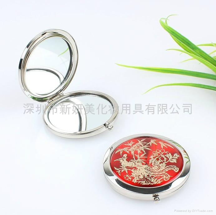 新妍美供应圆形金属精致款便携化妆镜 可定制 2