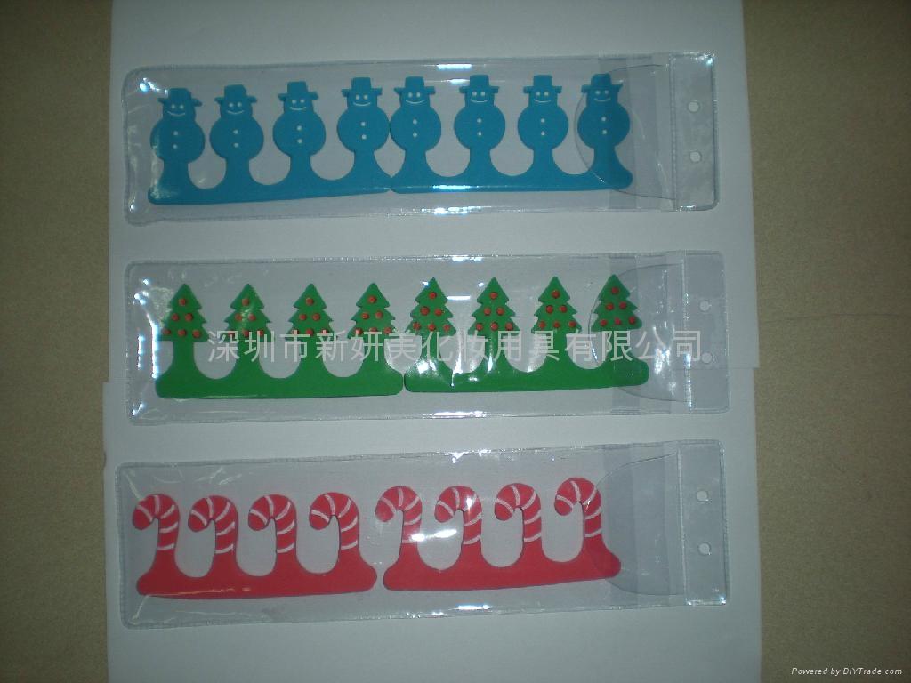 新妍美供應聖誕禮品美甲工具EVA腳趾分趾器美容套 2