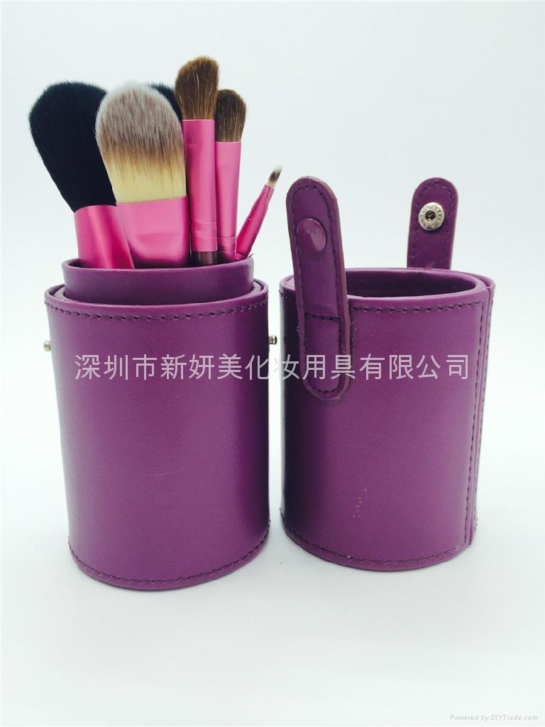 新妍美廠家供應圓筒裝7支5支化妝套刷 可定製 美容美妝化妝掃 2