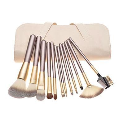 12Piece Makeup Brush Set for Artist cosmetic tools beige PU bag