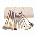 12Piece Makeup Brush Set for Artist cosmetic tools beige PU bag