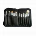 厂家供应高档12支化妆套刷+棕色PU化妆包美容刷工具 6