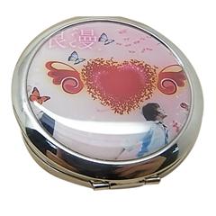 廠家供應新妍美圓形金屬輕便化妝鏡