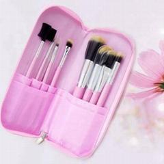 新妍美廠家供應7支化妝套刷+ PU化妝包 可定製 美容美妝化妝掃