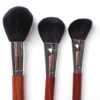 新妍美廠家供應上等羊毛散粉刷紅木手柄銅管 高檔化妝刷 1