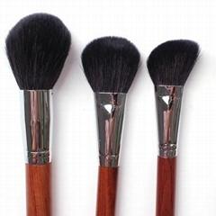 新妍美廠家供應上等羊毛散粉刷紅木手柄銅管 高檔化妝刷