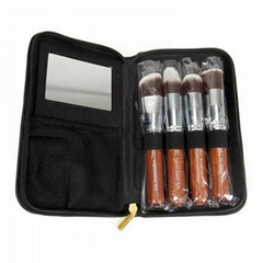 新妍美厂家供应精美5支装化妆套刷附带镜子 可定制 美妆美容工具