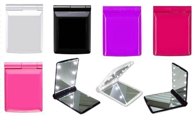 廠家供應新妍美迷你折疊led化妝鏡 多款形狀多色可選 1