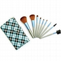 9 PCS Blue Check Facial Makeup Brush set Kit Case fashion women