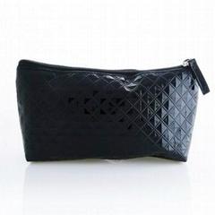 新妍美厂家供应时尚热销黑色钻石纹珍珠纹化妆包 大小可定制