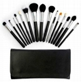 Pro 15 Pcs Black Makeup Brushes Set  Cosmetic Essential Kits & Bag