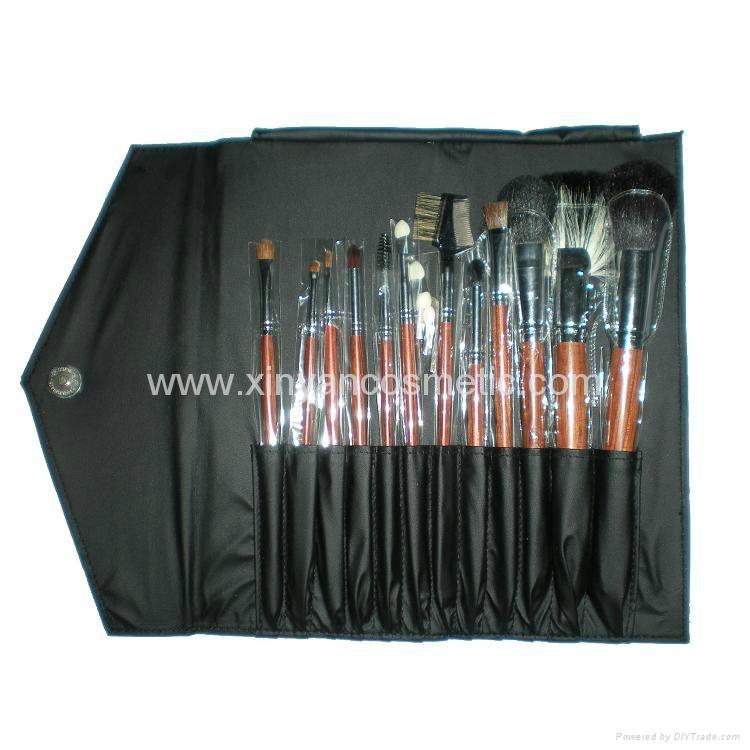 厂家供应12支专业化妆套刷羊毛粉刷黄狼毛眼影刷 PU化妆包 5