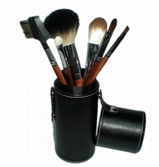 Black 7PCS makeup brush set Cylinder cosmetic bag cosmetic beauty tools  (Hot Product - 1*)