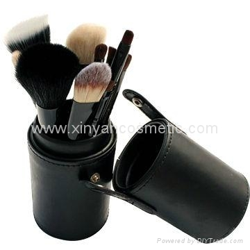 Black 7PCS makeup brush set Cylinder cosmetic bag cosmetic beauty tools  2