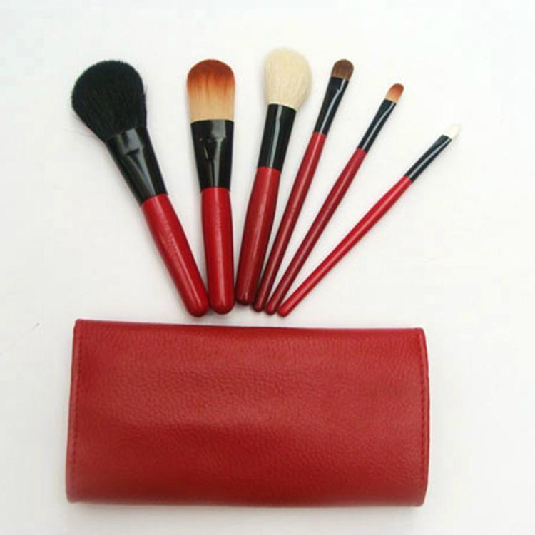 Red 6pcs Mini travel makeup brush set Goat hair pony hair