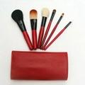 紅色6支裝迷你旅行化妝套刷羊毛