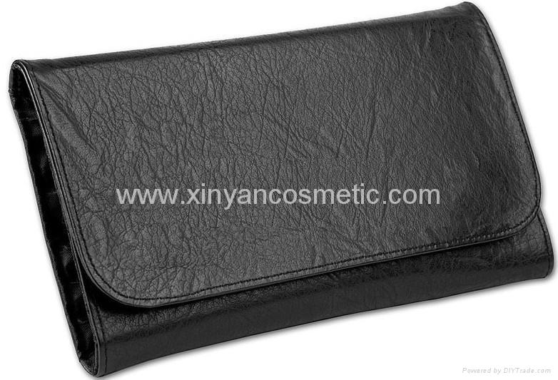 廠家供應專業黑色12支化妝套刷+高檔PU化妝包 可定製 2