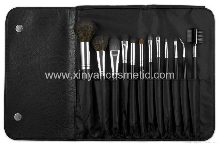廠家供應專業黑色12支化妝套刷+高檔PU化妝包 可定製 3