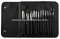 厂家供应专业黑色12支化妆套刷+高档PU化妆包 可定制 3
