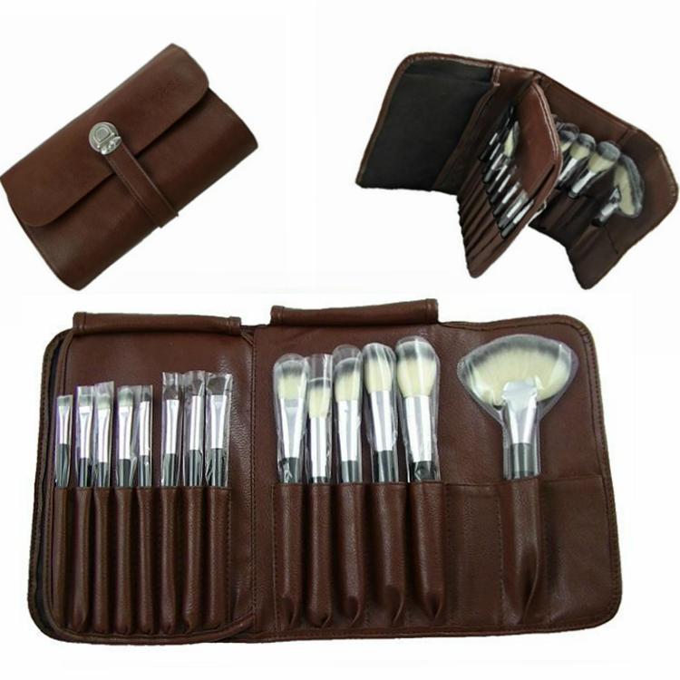 厂家供应高档12支化妆套刷+棕色PU化妆包美容刷工具 1