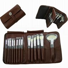 廠家供應高檔12支化妝套刷+棕色PU化妝包美容刷工具