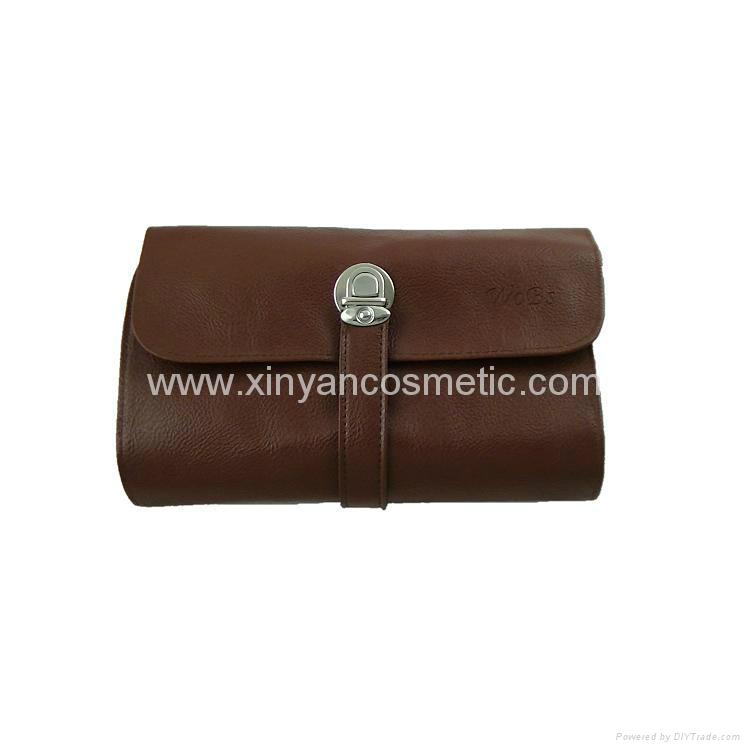 厂家供应高档12支化妆套刷+棕色PU化妆包美容刷工具 3