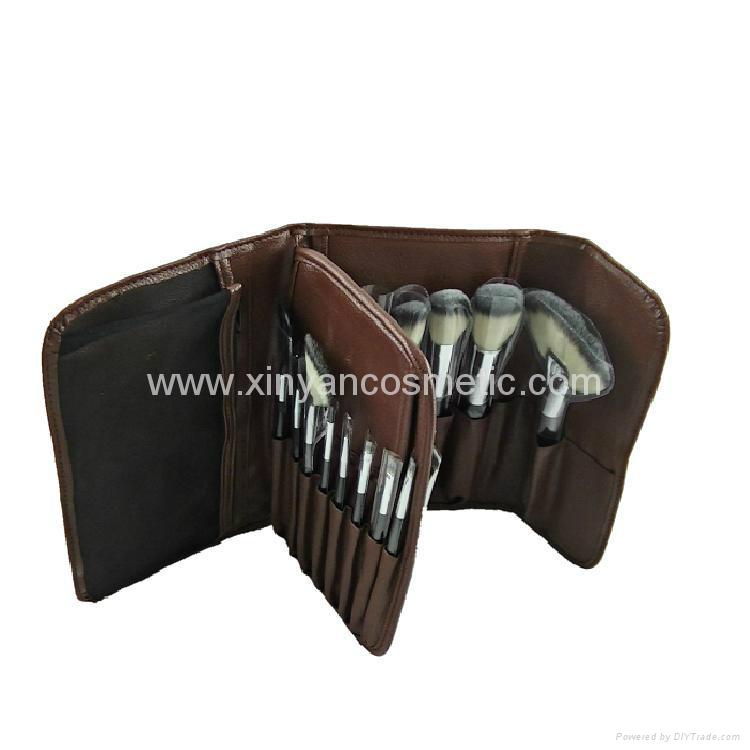 厂家供应高档12支化妆套刷+棕色PU化妆包美容刷工具 4