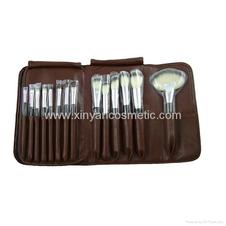 厂家供应高档12支化妆套刷+棕色PU化妆包美容刷工具 5