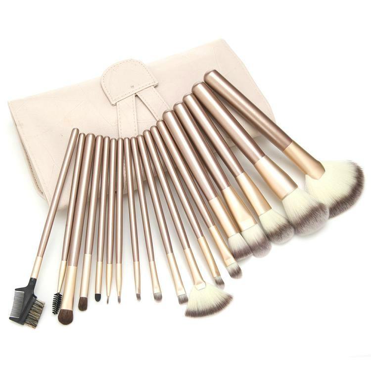 厂家供应米色18支专业化妆套刷学校专用美容刷工具 1