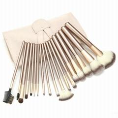廠家供應米色18支專業化妝套刷學校專用美容刷工具