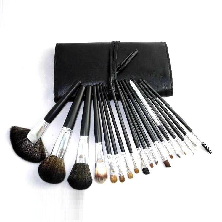 廠家供應黑色18支專業化妝刷套裝木質手柄學校專業彩妝套刷 1