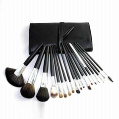 厂家供应黑色18支专业化妆刷套装木质手柄学校专业彩妆套刷
