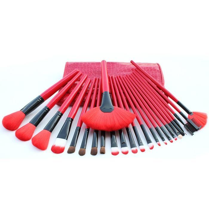 廠家供應專業24支紅色化妝套刷+PU鱷魚紋化妝包 可定製 1