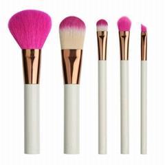 白色胶柄红色尼龙毛5支化妆套刷美容工具批发