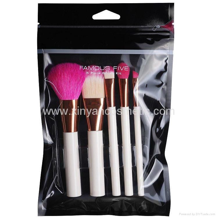 白色胶柄红色尼龙毛5支化妆套刷美容工具批发 2