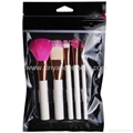 White plastic handle red nylon hair 5 piece makeup brush sets beauty tools