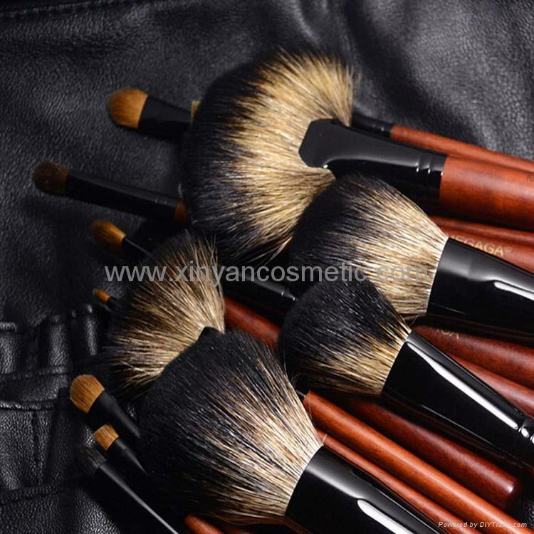 厂家供应12支专业化妆套刷羊毛粉刷黄狼毛眼影刷 PU化妆包 6