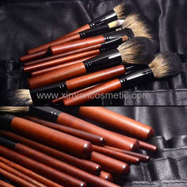 厂家供应12支专业化妆套刷羊毛粉刷黄狼毛眼影刷 PU化妆包 7