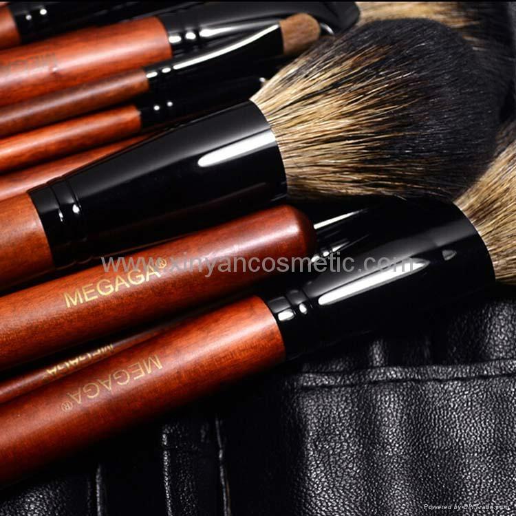 廠家供應12支專業化妝套刷羊毛粉刷黃狼毛眼影刷 PU化妝包 8