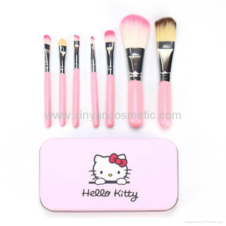 Professional Pink Hello Kitty Cosmetic Makeup Brush 7 Pcs Set Kit Pouch Bag Case