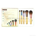 Portable Colorful Five Brush Set Bamboo Handle Short Rod Makeup Brush Sets