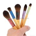 便攜式五彩五支套刷 竹子柄 短杆化妝刷套裝