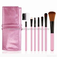 厂家OEM化妆套刷7件+皮夹化妆刷定制节日礼品化妆包
