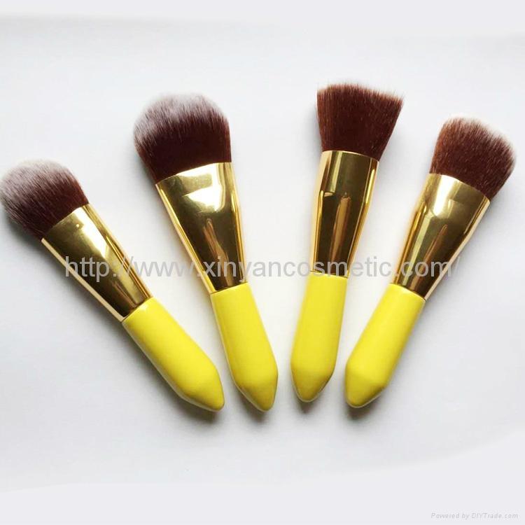 廠家OEM 便攜款可愛黃色9支小蠻腰化妝刷  3